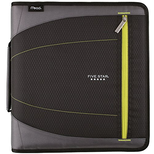 3 2 Binder Ring Removable (Five Star 2 Inch Zipper Binder, 3 Ring Binder, Removable File Folders, Durable, Black (73289))