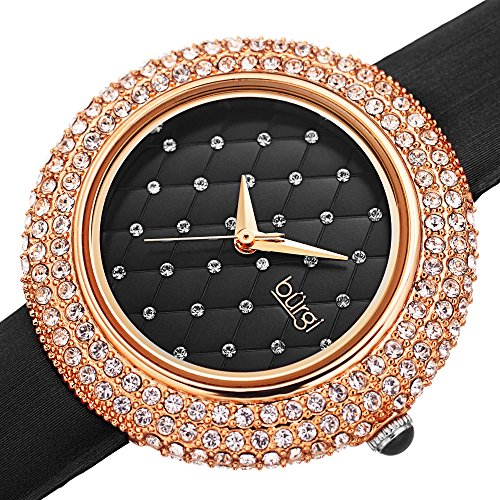 Burgi Swarovski Crystals Encrusted Quilted Dial - Swarovski Crystals Bezel with Satin Leather Strap Women's Watch - Mothers Day Gift - BUR207BKR (Black)