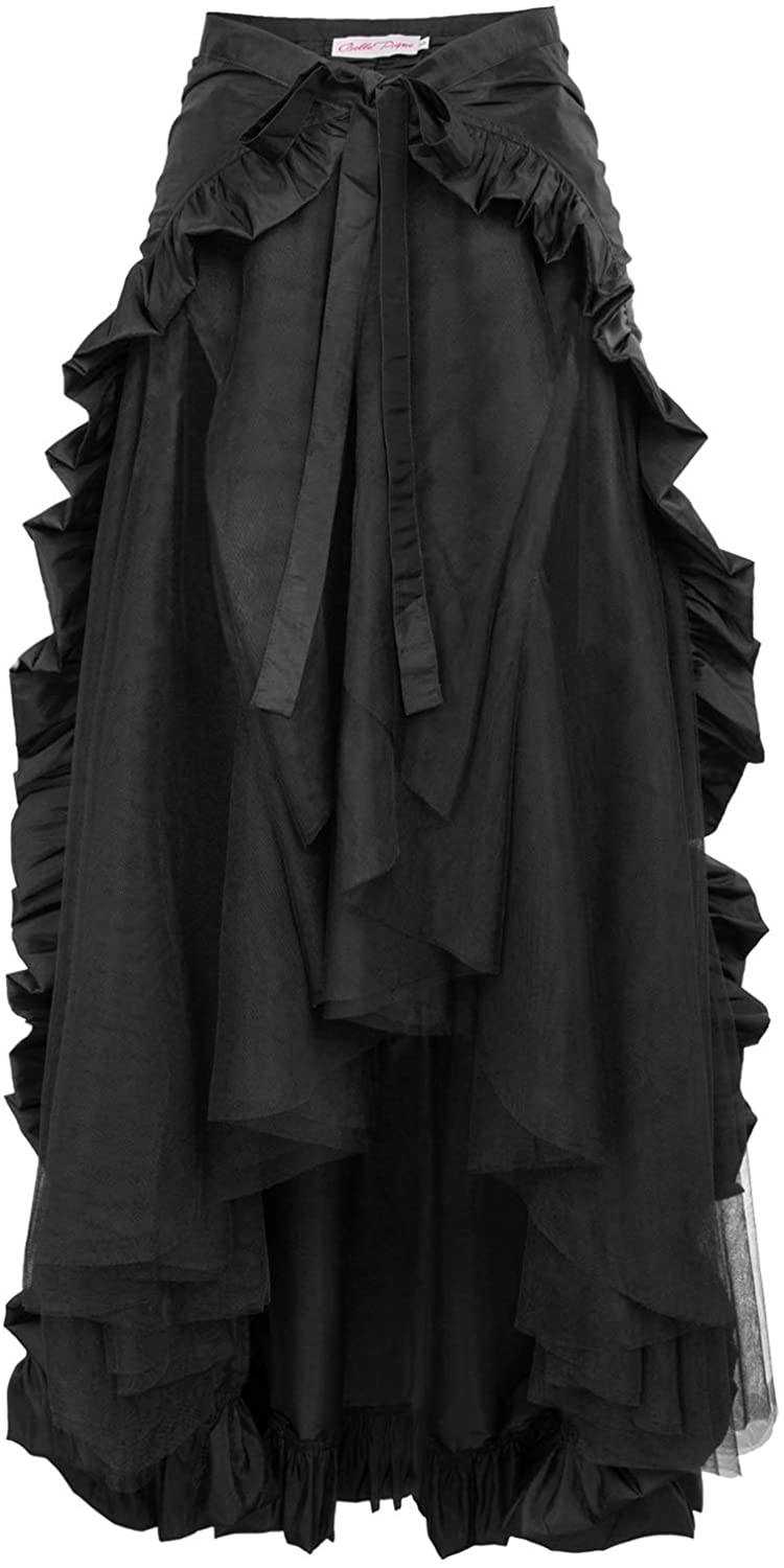 Belle Poque Women/'s Vintage Ruffled Irregular High Waist Steampunk Gothic Skirt