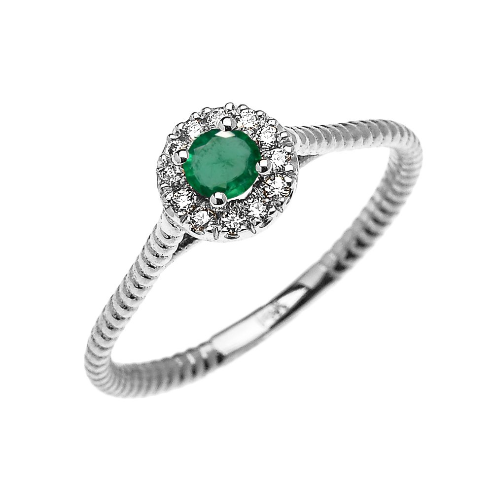 14k White Gold Dainty Halo Diamond and Solitaire Emerald Rope Design Promise Ring(Size 5)