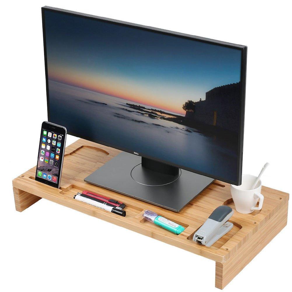 BAKAJI Stand Soporte Monitor Laptop Notebook Bamboo Puerto Monitor de Bamb/ú con Organizador Espacio de Almacenamiento para Mesa de Escritorio 60/x 30/x 8,5/cm