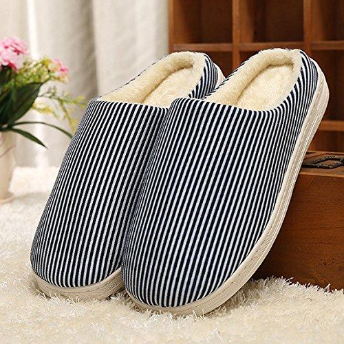Y-Hui Home caldo cotone pantofole, gli amanti di inverno caldo colore solido, fondo spesso Home pantofole di cotone,40/41 Codice,Tibet Navy