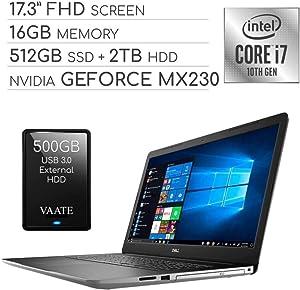"Dell Inspiron 2020 Premium 17.3"" FHD Laptop Computer, 4-Core Intel i7-1065G7 1.3 GHz, 16GB RAM, 512GB SSD + 2TB HDD, 2GB NVIDIA GeForce MX230, DVD, Webcam, Wi-Fi, HDMI, Windows 10 / 500GB External HDD"