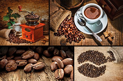 GREAT ART Coffee Beans Photo Wallpaper - Wall Decoration Aroma Coffee Kitchen Café Art Poster Brown Gold Mural (82.7 Inch x 55 Inch)