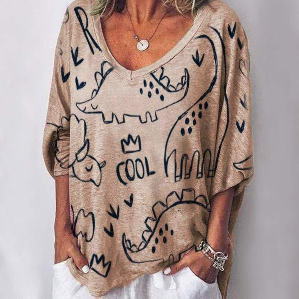 Booboda Women Fashion V-Neck Dinosaur Printing Full Sleeve Loose Tops Blouse