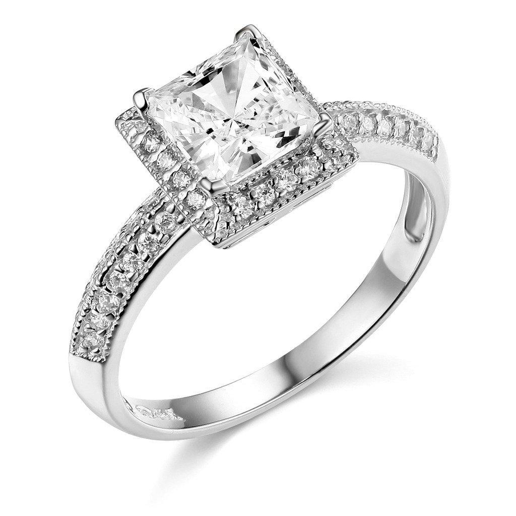TWJC 14k White Gold SOLID Princess Square Wedding Engagement Ring - Size 4