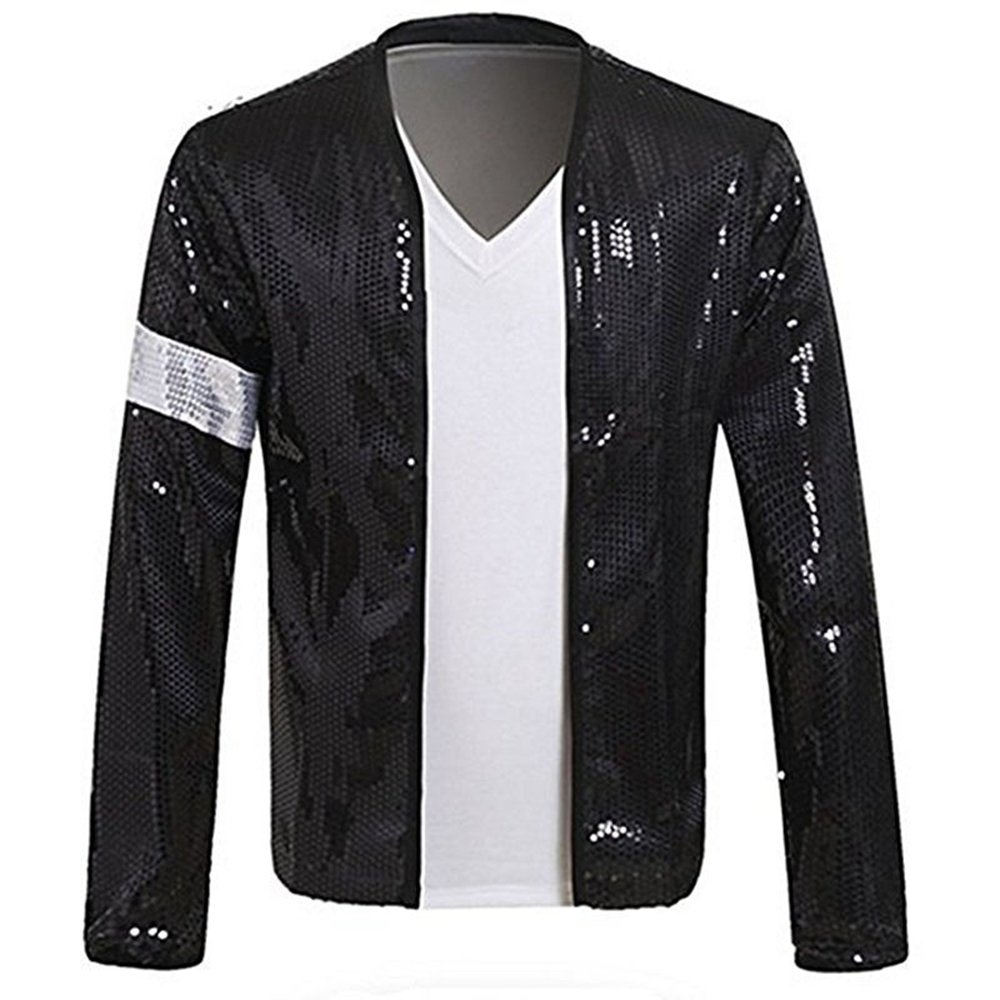 MJ Michael Jackson Jacket Costume Billie Jean Armband Sequin Jacket Glove Black (Jacket and Glove-XXL) by Thriller9