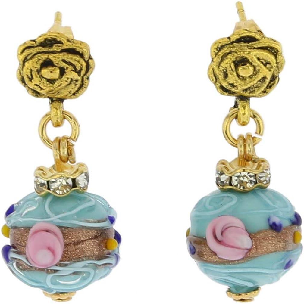 GlassOfVenice - Pendientes de cristal de Murano con bolas de cristal envejecidas, color azul