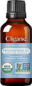Cliganic USDA Organic Frankincense Essential Oil, 1oz - Boswellia Serrata, 100% Pure Natural Undiluted, for Aromatherapy   Non-GMO Verified