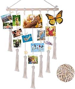 eZAKKA Hanging Photo Display Macrame Picture Organizer Boho Home Wall Decor with 25 Wood Clips