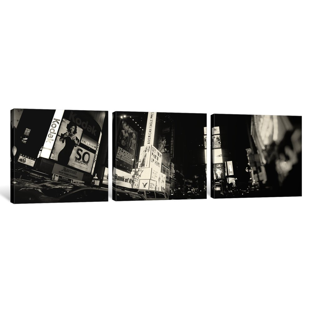 1.5 by 48 by 16-Inch iCanvasART 3-Piece Buildings Lit up at Night New York State USA No.2 Canvas Print by Panoramic Images Times Square Manhattan New York City