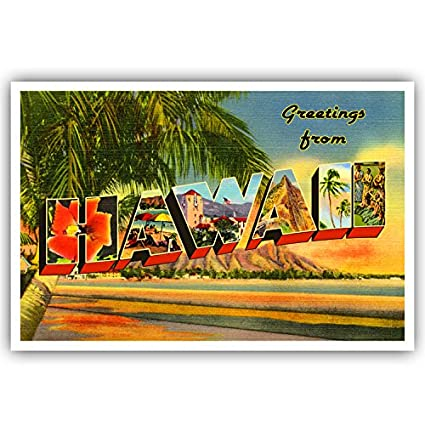 Amazon greetings from hawaii vintage postcard set of 20 greetings from hawaii vintage postcard set of 20 identical postcards replica based on large letter m4hsunfo
