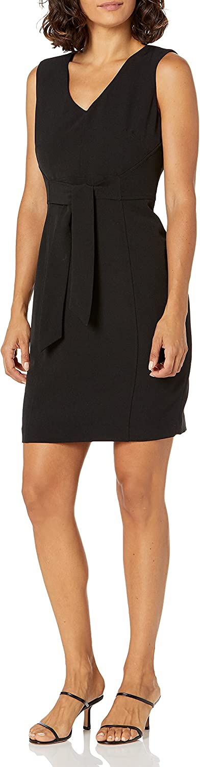 Clearance SALE Limited time Kasper Women's Stretch A surprise price is realized Crepe Sheath Dress with Tie Detail