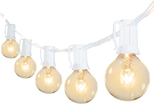 Brightown 50Ft G40 Outdoor Patio String Light-Connectable Globe Lights with 52 Clear Bulbs 2 Spare , UL Listed Backyard Lights for Indoor Commercial Decor, 50 Hanging Sockets, E12 Base, 5W Bulb, White