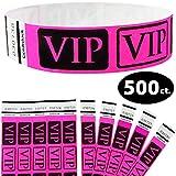 Goldistock 3/4'' Tyvek Wristbands VIP Deluxe- Neon Pink 500 Count - Event Identification Bands (Paper - Like Texture)