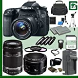 Canon EOS 70D Digital SLR Camera Kit with 18-55mm IS STM Lens and Canon 55-250mm Lens and Canon 50mm f/1.8 Lens + 32GB Greens Camera Package 1