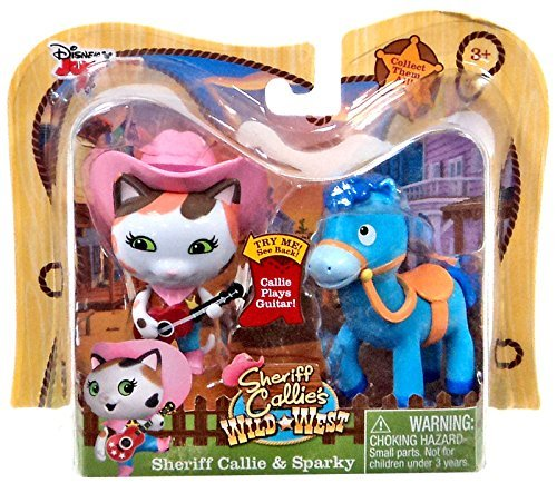 Disney Junior Sheriff Callie's Wild West, Sheriff Callie and Sparky Figure 2-Pack, 2.5 Inches]()