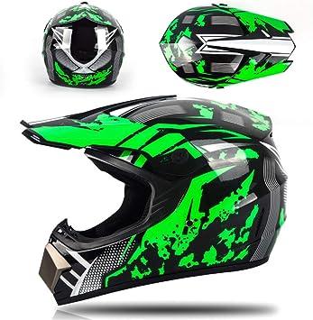 Nero e Verde//Fodera Rimovibile MRDEAR Casco Motocross con Guanti Face Mask Casco Downhill Integrale Visiera Casco Moto Cross Adulto per Enduro MTB Offroad Scooter Sport