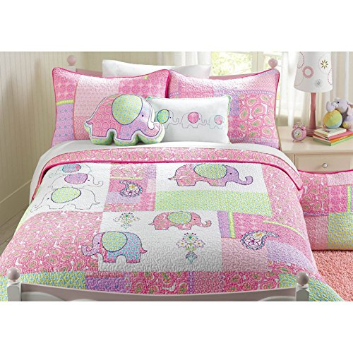 2 Piece Adorable Purple Green Pink Blue White Twin Quilt Set, Elephant Themed Reversible Bedding Colorful Fun Cute Animal Print Patchwork Girls Kids Flower Floral Paisley Daisy Jungle Pretty, Cotton by un
