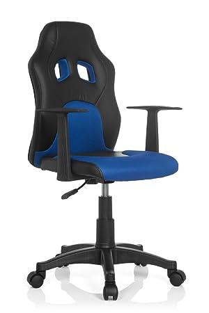 nouveau produit 335b2 c2f73 hjh OFFICE 670700 chaise de bureau enfant gaming, siège pivotant junior  gamer TEEN RACER AL noir/bleu en simili cuir - tissu, siège pivotant avec  ...