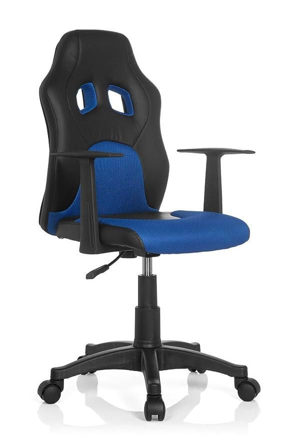 hjh OFFICE Teen Racer Al Silla Infantil, Piel_sintética, (Negro/Azul), 41x51x103 cm