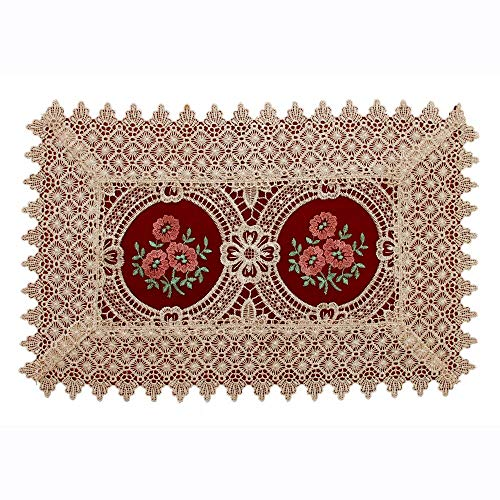Simhomsen Vintage Look Burgundy Lace Table Placemats Doilies, Rectangle 12 × 18 inch, Set of 6