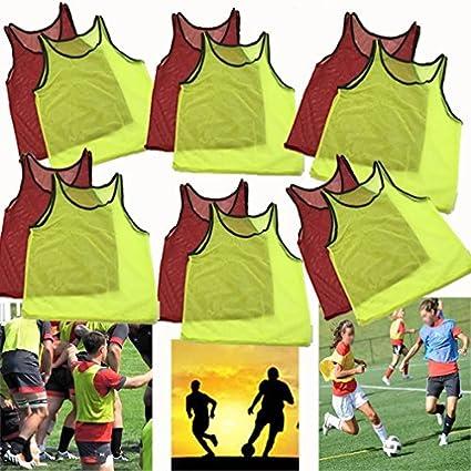 Nylon Mesh 12 Yellow Scrimmage Team Practice Adult Vests Jerseys