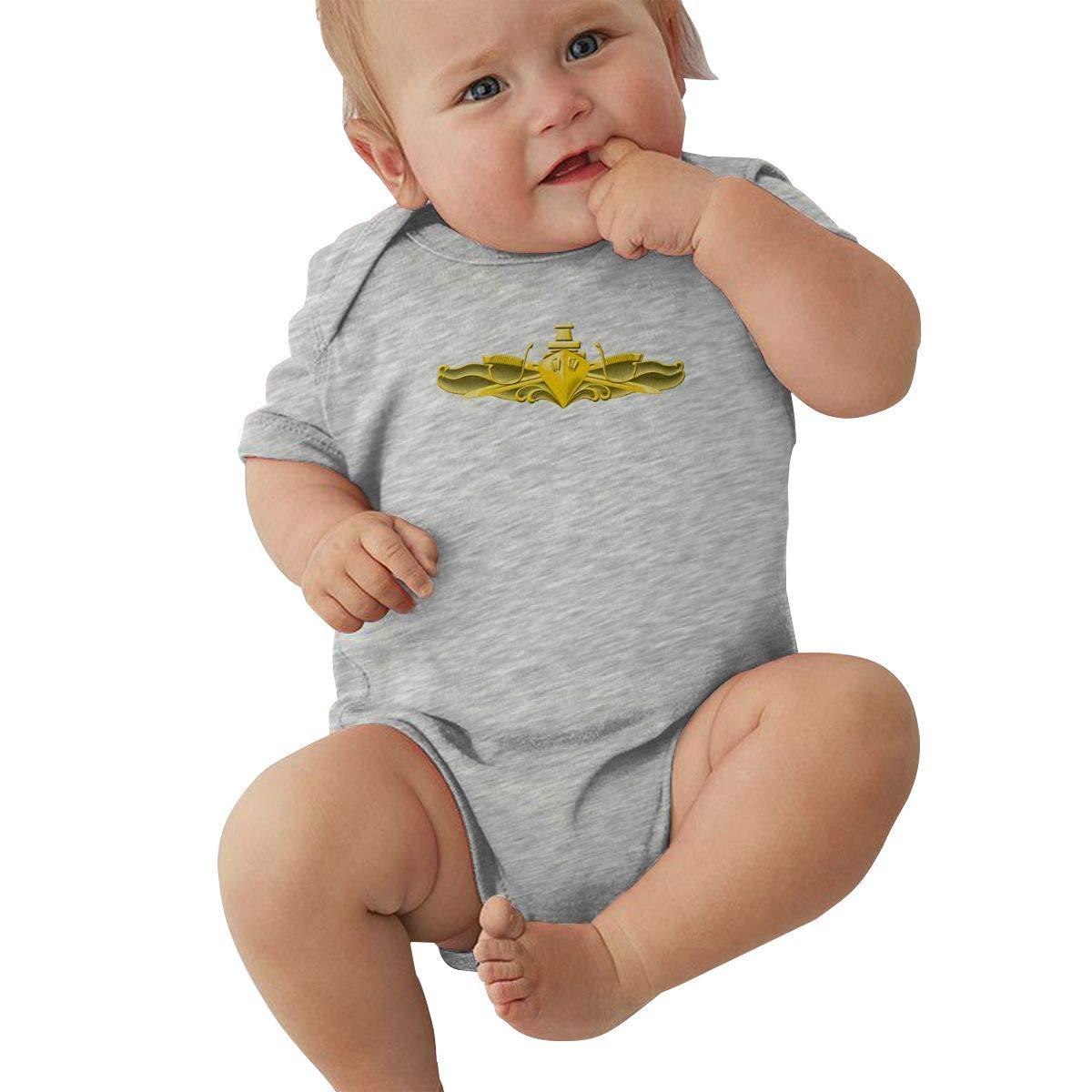 US Navy Surface Warfare Officer Logo Hip Hop Newborn Baby Short Sleeve Bodysuit Romper Infant Summer Clothing Black