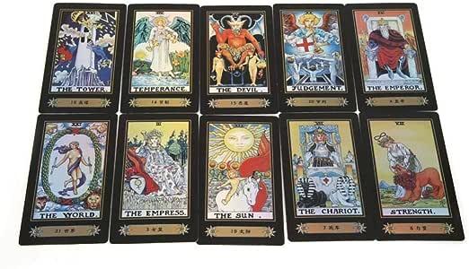 Linian 78 Tarjetas, Tarot Cards Juego de Mesa, Juego de Cartas con Caja para Principiantes (Negro): Amazon.es: Electrónica
