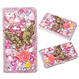 Evtech(tm) Butterfly Pink Rhinestone Bling Crystal Glitter Book Style Folio PU Leather Wallet Case with Handbag Phone Holder & Card Slots for Samsung Galaxy S5