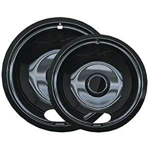 Range Kleen P12782Xcd5 Style A Black Porcelain Drip Pans, 2-Pack