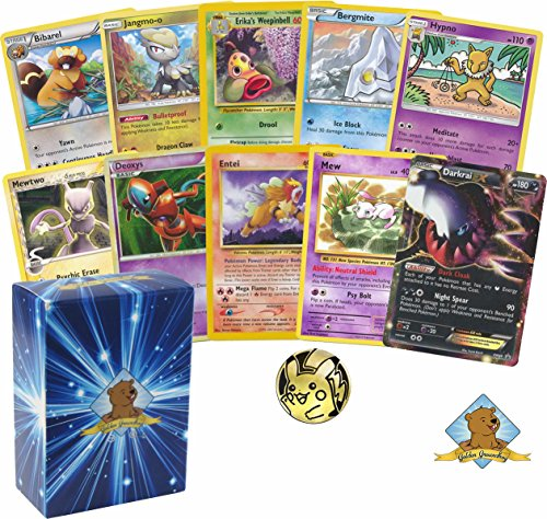 100 Assorted Pokemon Common Uncommon Cards with 5 Legendary Pokemon! One Legendary Will be a EX Ultra Rare! Coin in Every Bundle. Includes Golden Groundhog Deckbox! Card Trading Card Set