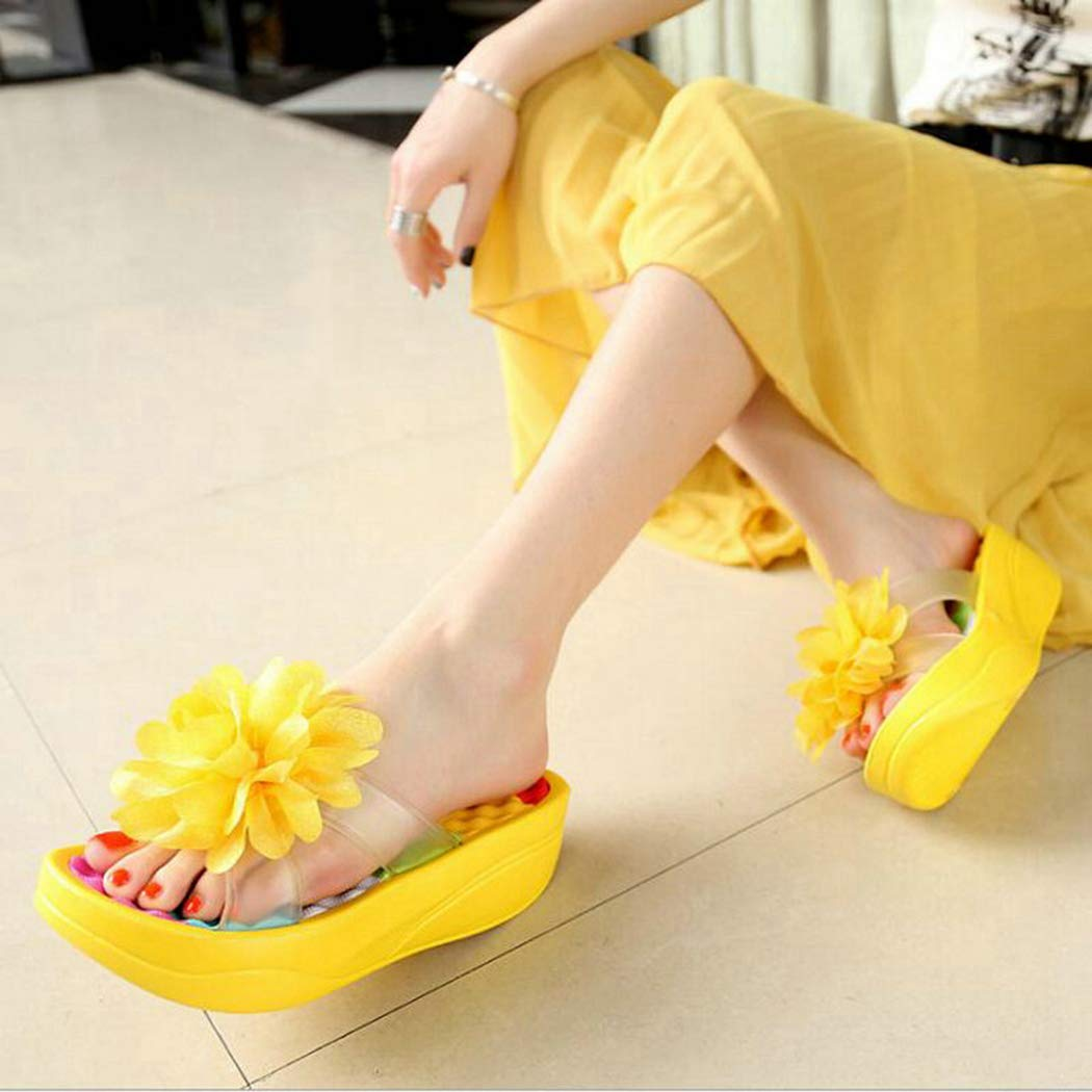 Summer Women Sandals Wedges Flip Flops Platform Shoes Flower Beach Bath Slippers