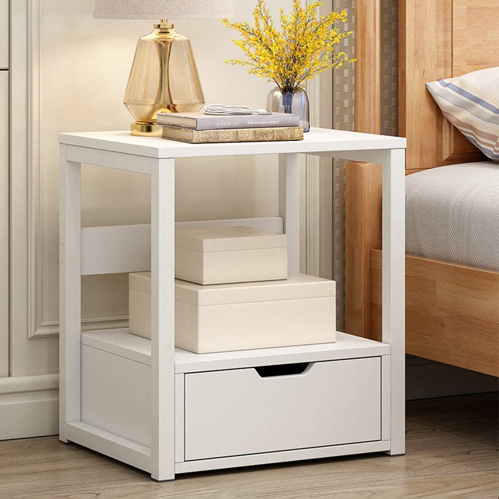 vmree Industrial Nightstand, 12-Tier End Side Table, End Tables with  Drawer,Stable Metal Frame and Easy Assembly,Bedroom Bedside Table Cabinet  Wooden