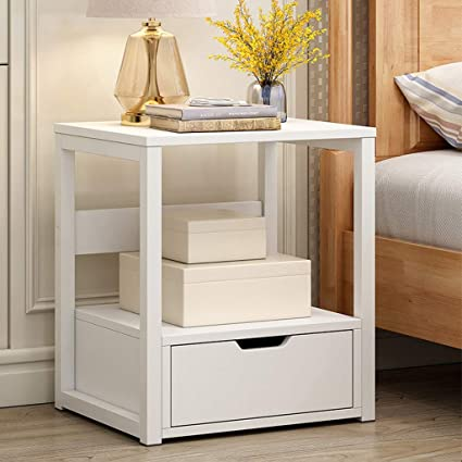 Bedside Table,Yirise Nightstand White Night Stand Side End Table with Drawer Two-Layer Bedside Table Coffee Table,Night Stand Sofa Side Table R Storage Locker Bedroom Sofa Coffee Modern End Table