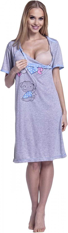 Womens Maternity Nursing Breastfeeding Nightdress Shirt Gown 141p Grey Happy Mama