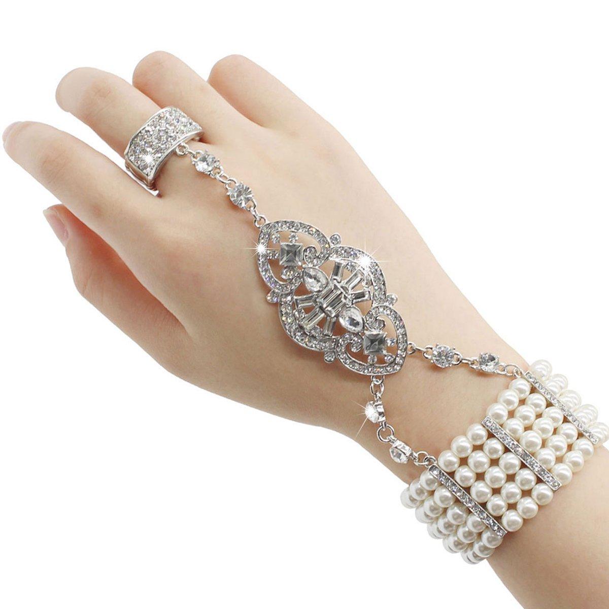 HAMIST 1920s Accessories Bracelet Ring Set Great Gatsby Adjustable Bracelet Art Deco For Women by HAMIST