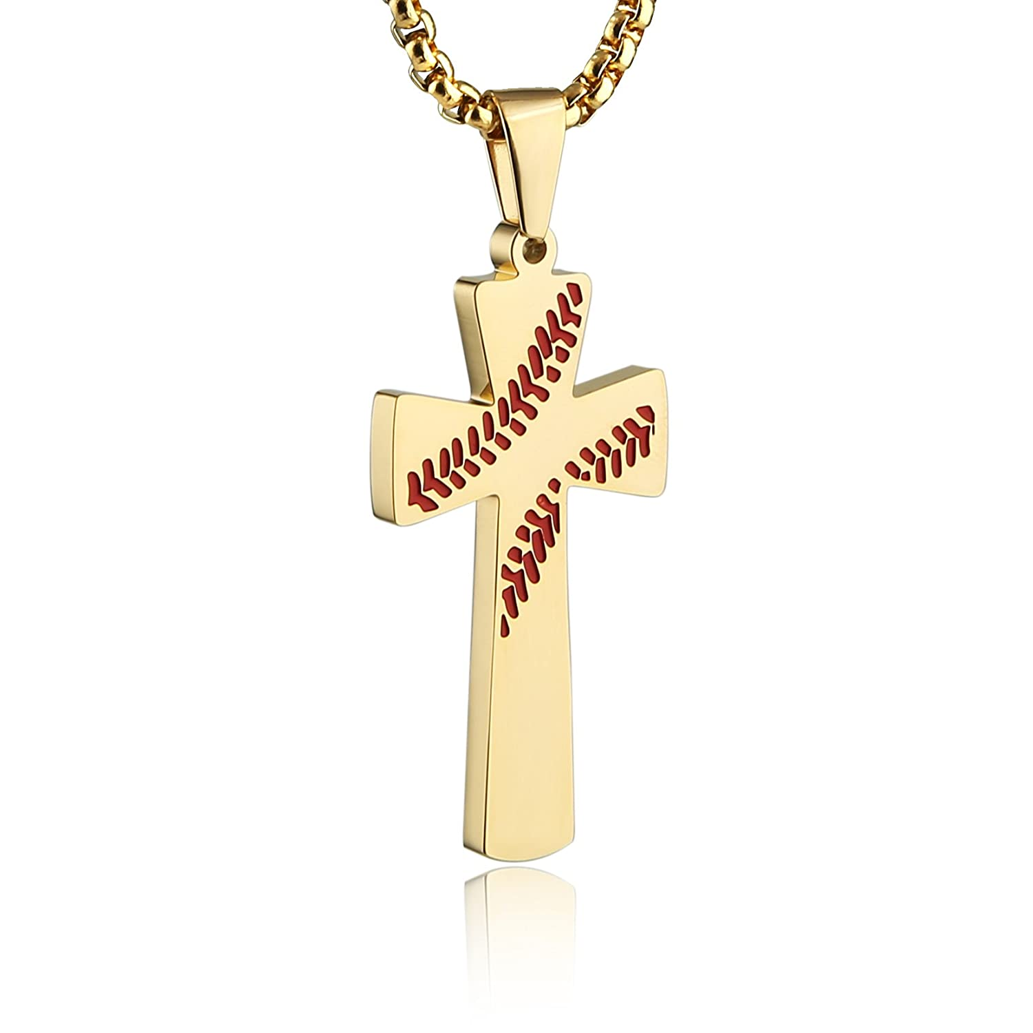 HZMAN Baseball Cross Pendant, I CAN DO All Things Strength Bible Verse Stainless Steel Necklace 24
