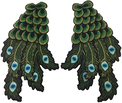 Hot Peacock Feather Wing Pattern Embroidered Patches Iron On Patch Applique DIY