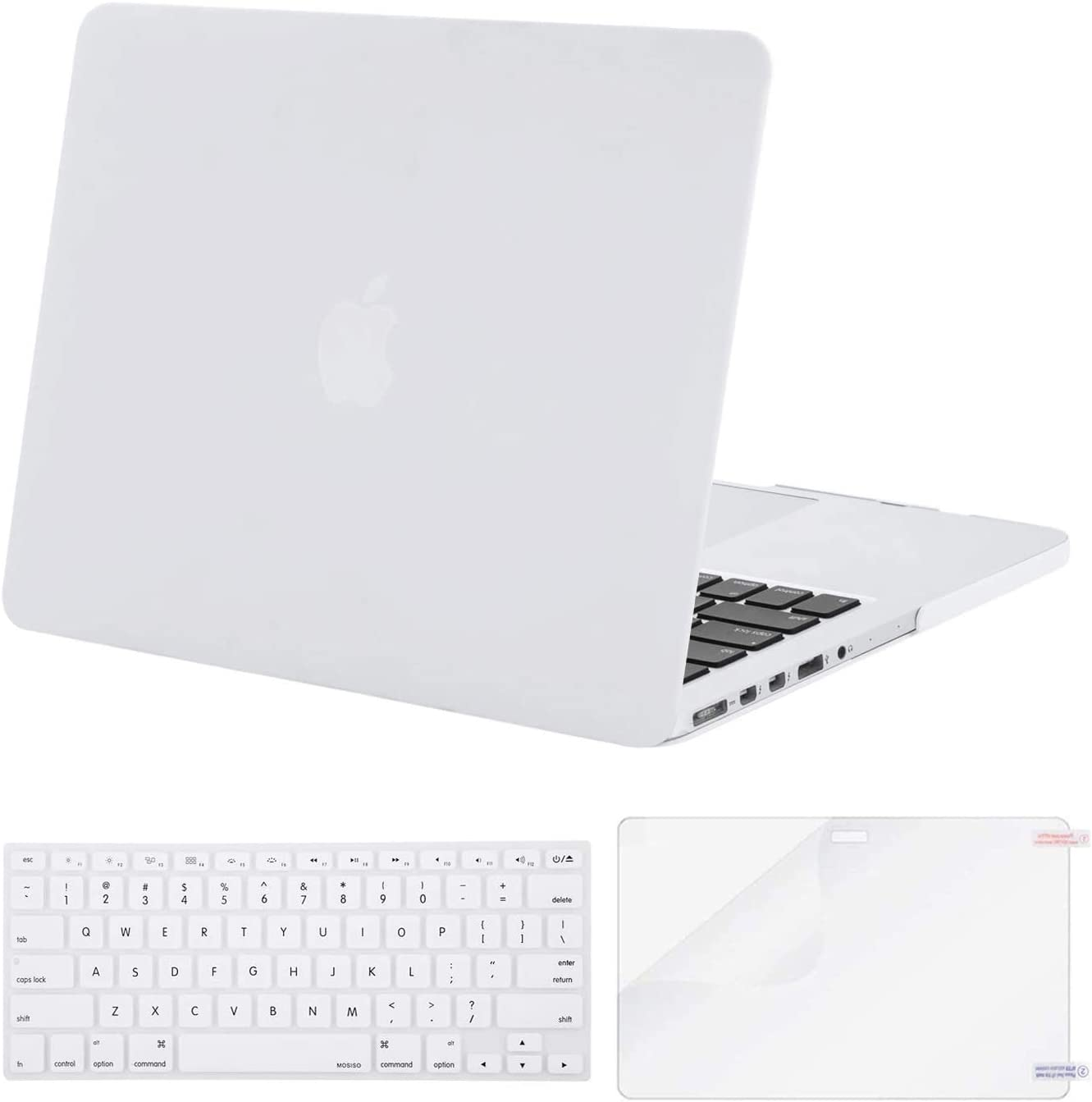 MOSISO Case Only Compatible with Older Version MacBook Pro Retina 13 inch (Models: A1502 & A1425) (Release 2015 - end 2012), Plastic Hard Shell Case & Keyboard Cover & Screen Protector, White