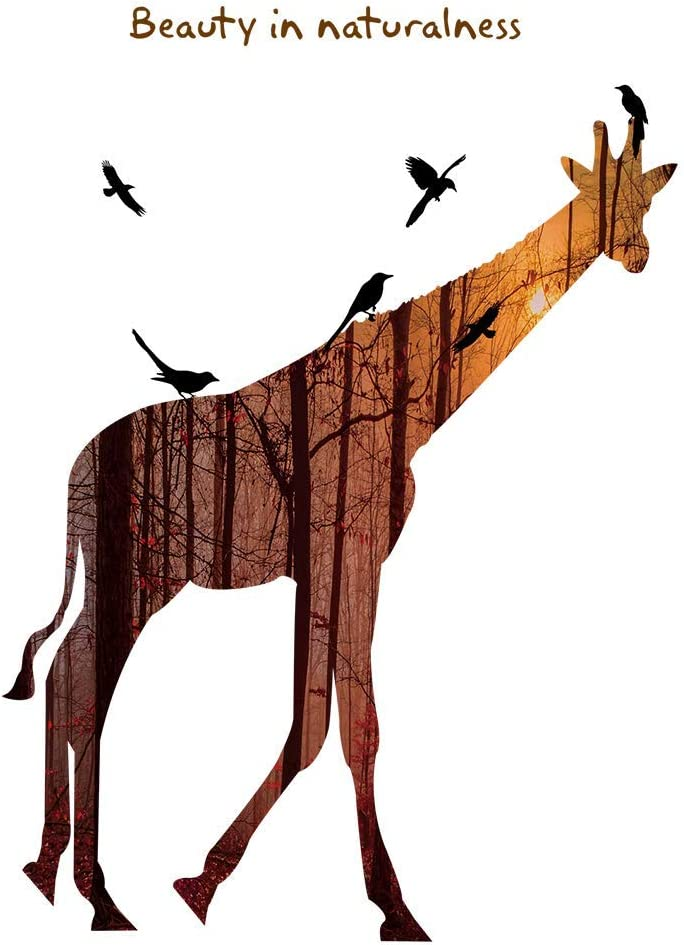 Supzone Silhouette Giraffe Wall Stickers Forest Flying Birds Wall Decals DIY Removable Vinyl Wall Decor Wall Art Sticker Mural for Bedroom Living Room TV Background Home Decoration