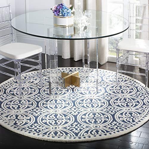 Safavieh Cambridge Collection area rug, 8' Diameter, Navy Blue/Ivory (Rug Safavieh Round)