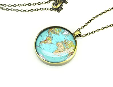 Handmade meaningful necklace 1965 old world map necklace custom handmade meaningful necklace 1965 old world map necklace custom engraved gift for friend gumiabroncs Gallery