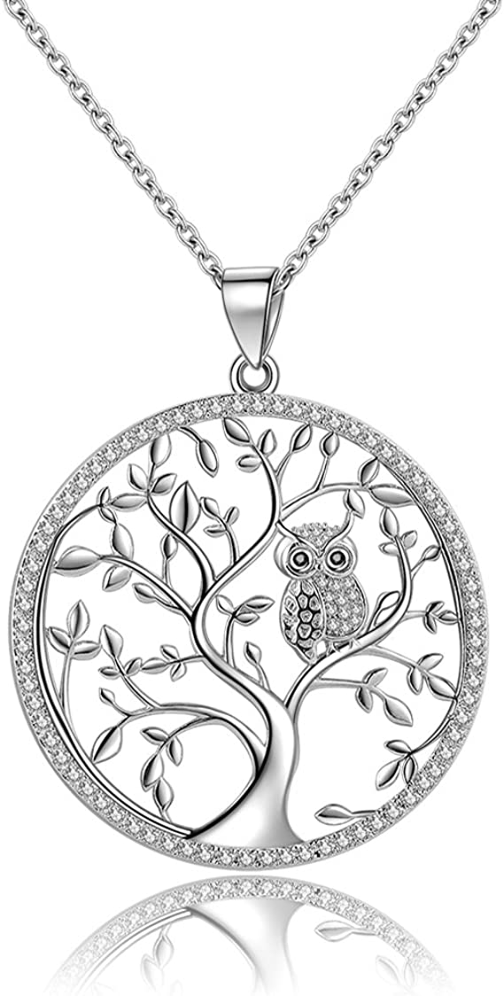 OWL Sterling Silver 925 Owl Necklace Sterling Silver Owl Necklace Silver Owl Jewelry Choose chain By Life Of Silver Gift For Her