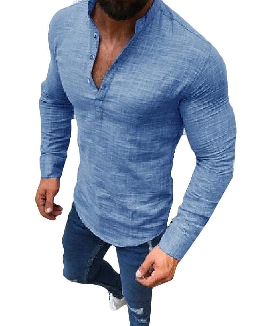 Generic Mens Long Sleeve T-Shirt Linen Slim Fit Buttons Solid Fashion Henley Shirt