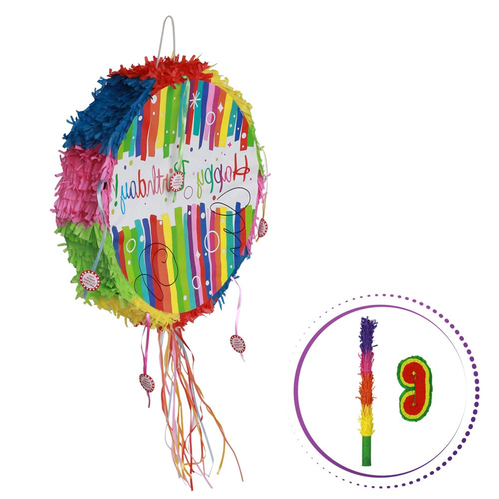 Birthday Rainbow Pinata - Cartoon Shaped Pinatas Kids Birthday Party Supplies for Comic Themed Party with Eye Mask and Stick Sets