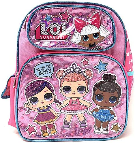 """LOL 12\"""" Small Pink Shiny Girls' School Backpack A16303"""