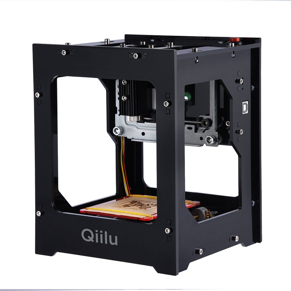 Qiilu 1500mw Laser Engraving Machine Mini DIY USB Engraver Printer CNC Router Cutting Carver Off-line Operation with Goggles for Art Craft Science for Win 7, XP, Win 8, Win 10, ios 9.0, android 4.0 by Qiilu