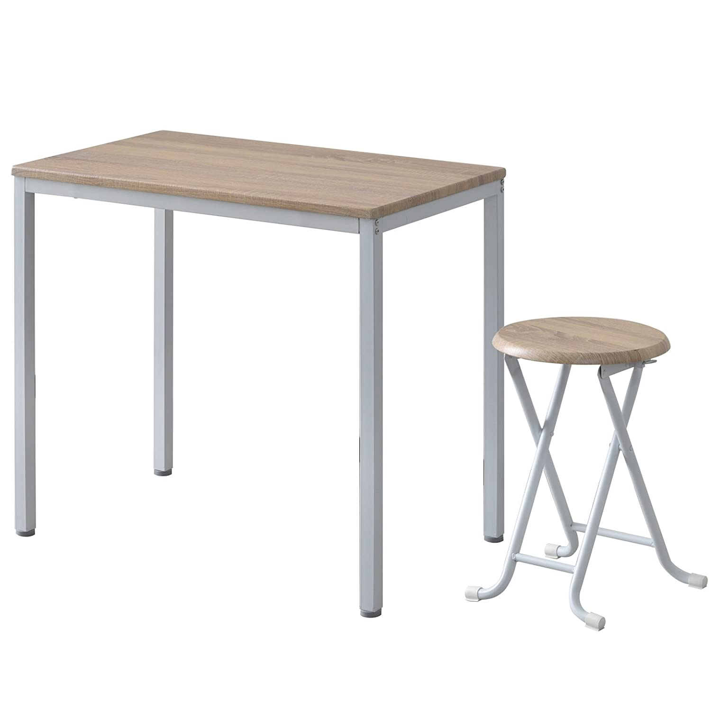 ワイエムワールド ヴィンテージ調 デザイン ボートン テーブル + 折りたたみ式スツール1脚 計2点セット 【カラー:ナチュラル】 34-124 B07BKS4CYZ テーブル+スツール1脚|ナチュラル ナチュラル テーブル+スツール1脚