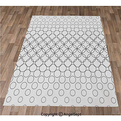 Non-Slip Super Soft Rugs Cozy Kids Bedroom Living Room Carpet 40x63in,Artistic Various Overlap Dynamic Inner Oval Motifs Retro Print,Black White Indoor/Outdoor Area Runners & Stair Rug Carpet